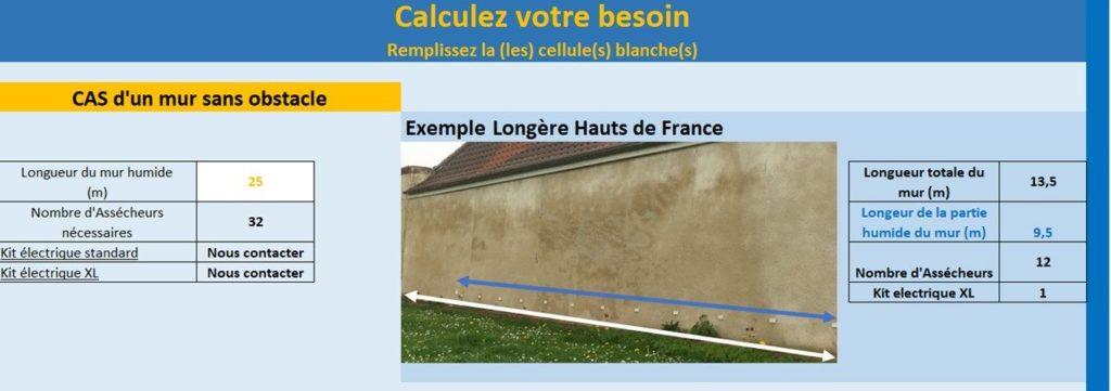 calculateur assécheur de mur humide